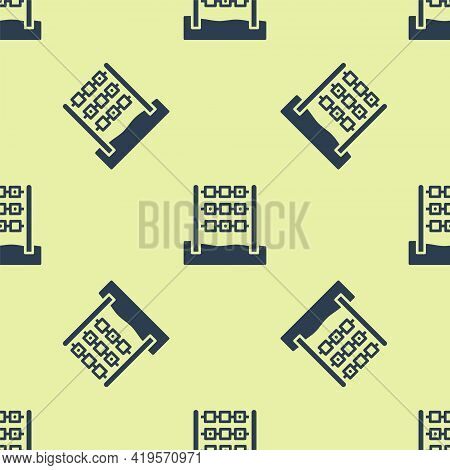 Blue Tic Tac Toe Game Icon Isolated Seamless Pattern On Yellow Background. Vector