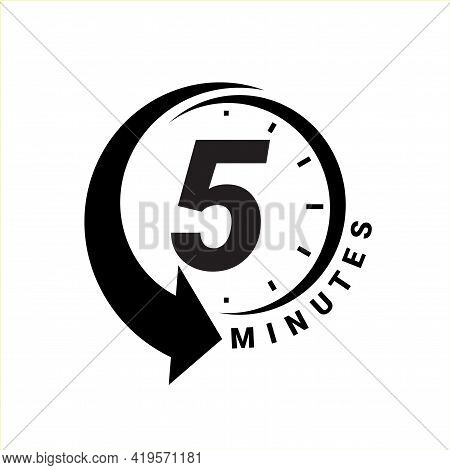 Minute Timer Icons. Sign For Five Minutes.