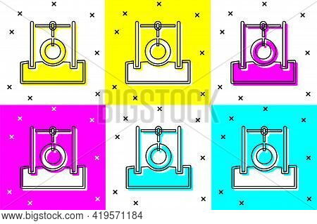 Set Car Tire Hanging On Rope Icon Isolated On Color Background. Playground Equipment With Hanging Ro