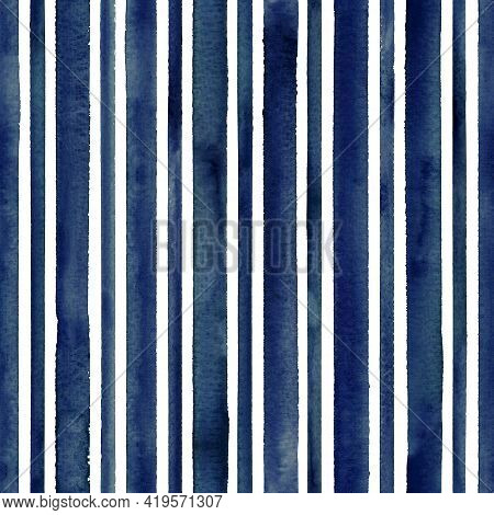 Watercolor Indogo Blue Stripes On White Background. Turquoise And White Striped Seamless Pattern. Wa