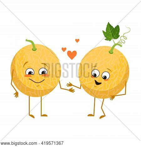 Cute Melon Characters With Love Emotions, Face, Arms And Legs. The Funny Or Happy Food Heroes, Fruit