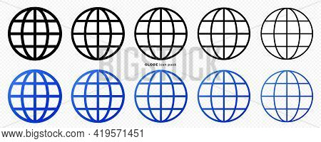 Globe Icons Set. Web Globe Flat Linear Icon. Silhouette Of The Globe With Meridians. Vector Elements