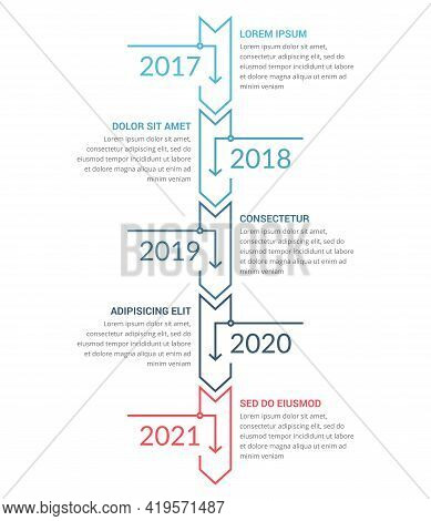 Vertical Timeline Template With Five Arrows, Infographic Template For Web, Business, Presentations,