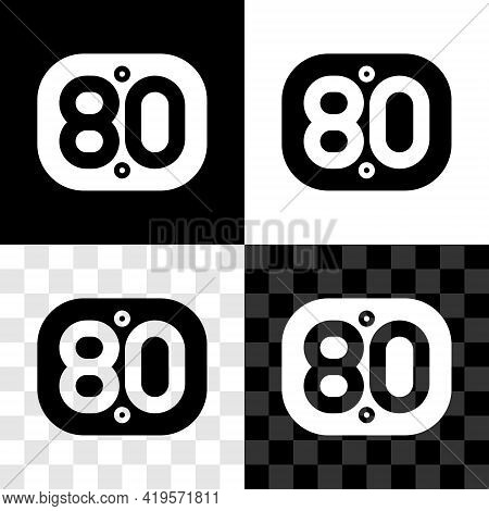 Set 80s Retro Icon Isolated On Black And White, Transparent Background. Eighties Poster. Vector