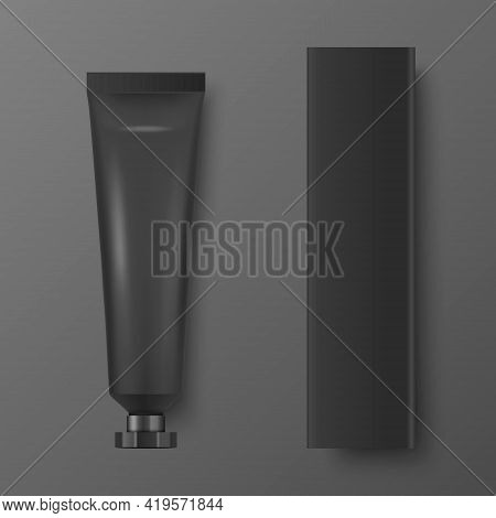Vector 3d Realistic Plastic, Metal Black Tooth Paste, Cream Tube, Carton Packing Isolated On White B