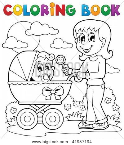 Coloring book baby theme image 2 - vector illustration.