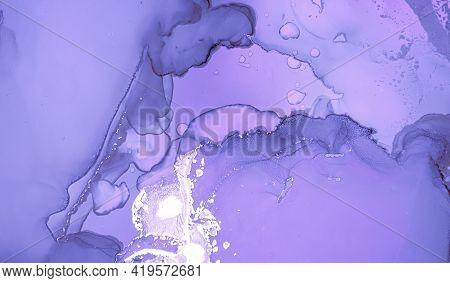 Purple Liquid Paint. Gray Grey Alcohol Oil Wallpaper. Marble Abstract Texture. Creative Liquid Paint