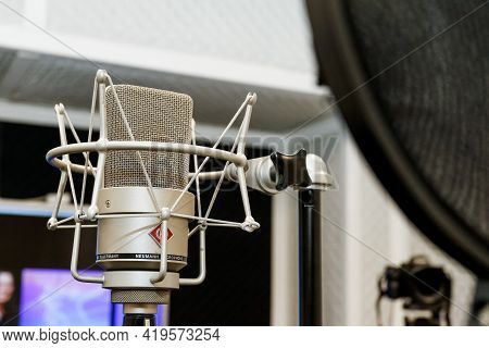 Minsk. Belarus - 31.03.2021: In A Recording Studio, The Professional Microphone For Studio Recording