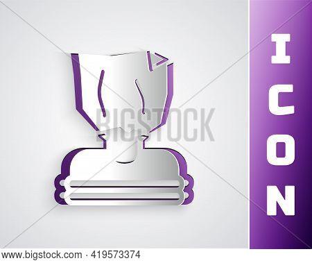 Paper Cut Kidnaping Icon Isolated On Grey Background. Human Trafficking Concept. Abduction Sign. Arr