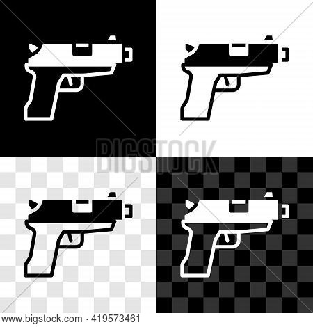 Set Pistol Or Gun Icon Isolated On Black And White, Transparent Background. Police Or Military Handg
