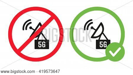 Allowed And Forbidden 5g Wifi Signs Vector Flat Illustration. Modern Wireless Network Prohibition Sy