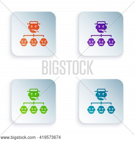 Color Mafia Icon Isolated On White Background. Boss And Gangsters. Set Colorful Icons In Square Butt