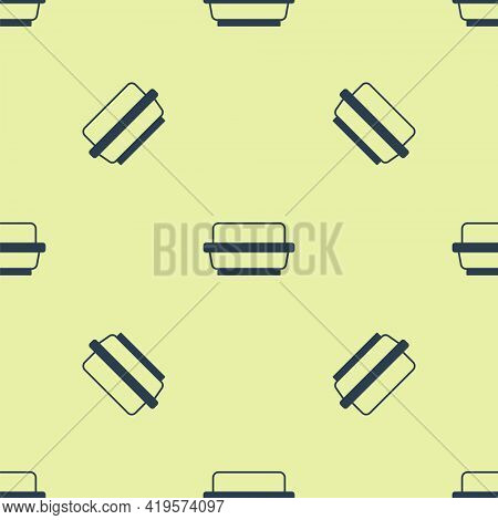 Blue Butter In A Butter Dish Icon Isolated Seamless Pattern On Yellow Background. Butter Brick On Pl