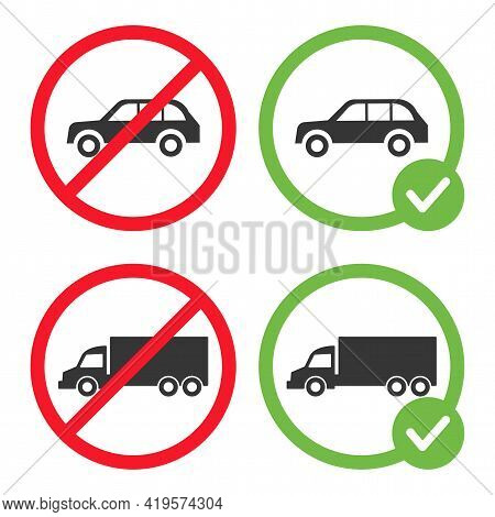 Allowed And Forbidden Car Signs Vector Flat Illustration Isolated On White Background. Lorry Prohibi