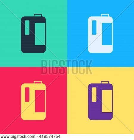 Pop Art Plastic Bottle With Handle For Milk Icon Isolated On Color Background. Gallon Of Milk. Vecto