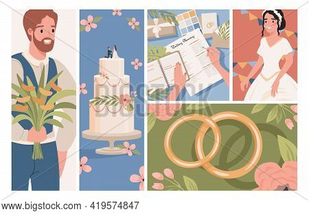 Wedding Vector Flat Illustrations. Happy Groom With Bouquet, Smiling Bride In White Wedding Dress, W