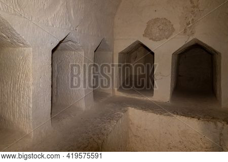 Kiryat Gat, Israel, March 27, 2021 : Burial Niches In The Excavated And Reconstructed Ancient Burial