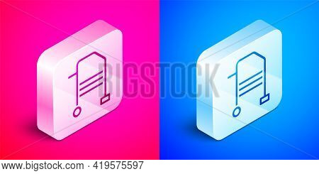 Isometric Walker For Disabled Person Icon Isolated On Pink And Blue Background. Silver Square Button