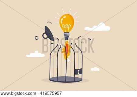 Unleash Creativity Or Unlock Business Idea To Grow Beyond Limitation Concept, Lightbulb Creative Ide