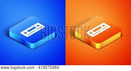 Isometric Car Audio Icon Isolated On Blue And Orange Background. Fm Radio Car Audio Icon. Square But