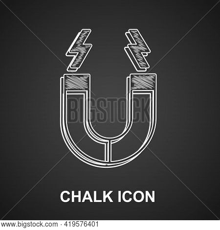 Chalk Magnet Icon Isolated On Black Background. Horseshoe Magnet, Magnetism, Magnetize, Attraction.
