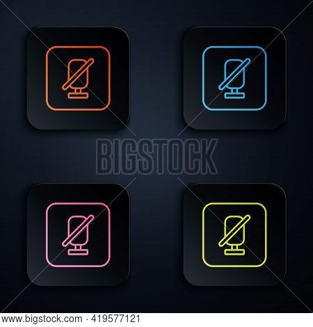 Color Neon Line Mute Microphone Icon Isolated On Black Background. Microphone Audio Muted. Set Icons