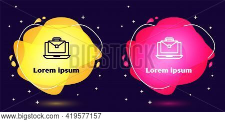 Set Line Online Working Icon Isolated On Blue Background. Freelancer Man Working On Laptop At His Ho