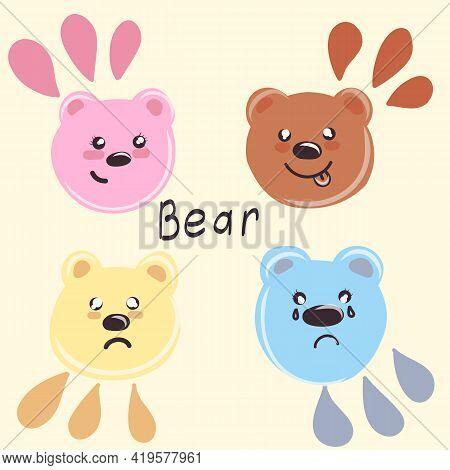 Set Of Cute Cartoon Bears. Vector Little Bear Heads. Print Design. Cute Set Animals, Hand Drawn Cute