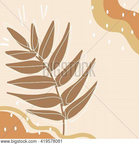 Doodle Floral Line Set. Botanical Minimalist Elements. Natural Elements In Doodle Style For Template