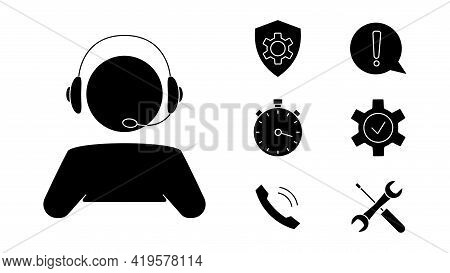 Customer Service. Man With Headphones. Online Technical Support. Concept Illustration For Assistance