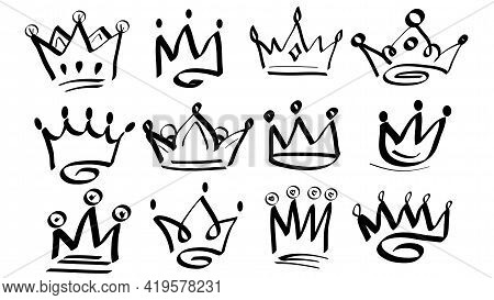 Doodle Crowns. Line Art King Or Queen Crown Sketch. Drawing By Hand Black Elements. Vector Illustrat
