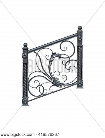 Wrought Iron Railings On The Steps. Isolated Over White Background.