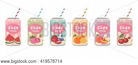 Various Tasty Sodas. Hand Drawn Vector. Carbonated Water With Different Fruit Flavors. Kawaii Japane