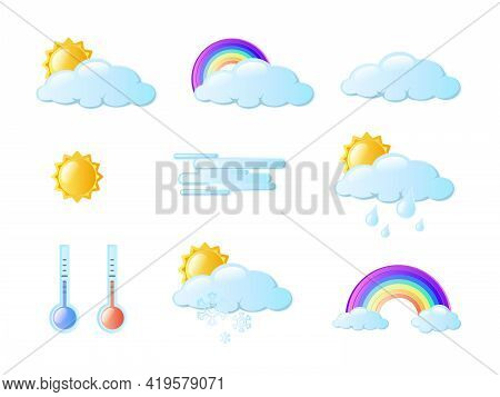 Weather Icons Pack. Colorful Weather Forecast Design. White Clouds, Dew On Leaves, Fog Sign, Day And