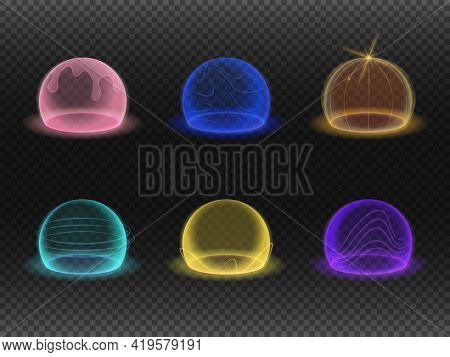 Force Shield Bubbles, Energy Glowing Spheres Or Defense Dome Fields. Vector Realistic Set Of Cracked