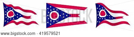 Flag Of American State Of Ohio In Static Position And In Motion, Fluttering In Wind In Exact Colors