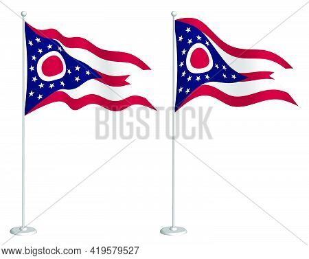 Flag Of American State Of Ohio On Flagpole Waving In Wind. Holiday Design Element. Checkpoint For Ma