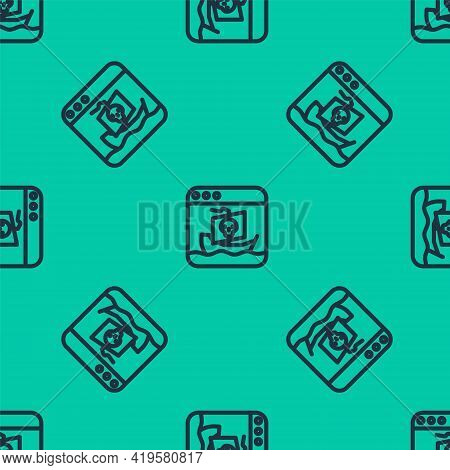 Blue Line Internet Piracy Icon Isolated Seamless Pattern On Green Background. Online Piracy. Cybersp
