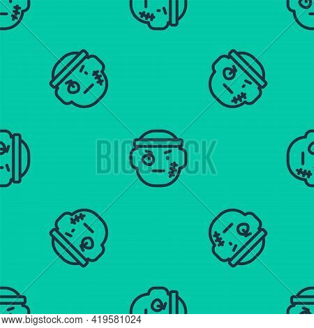Blue Line Bandit Icon Isolated Seamless Pattern On Green Background. Vector