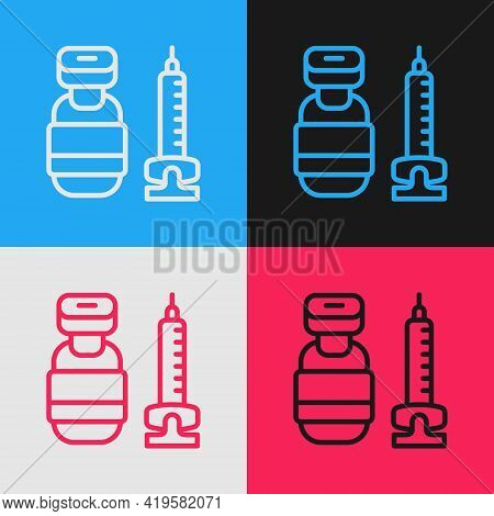 Pop Art Line Medical Syringe With Needle Icon Isolated On Color Background. Vaccination, Injection,