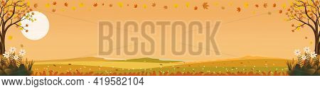 Fantasy Landscapes Of Countryside In Autumn,panoramic Mid Autumn With Farm Field, Mountains, Wild Gr