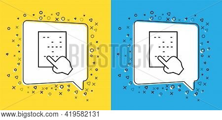 Set Line Braille Icon Isolated On Yellow And Blue Background. Finger Drives On Points. Writing Signs