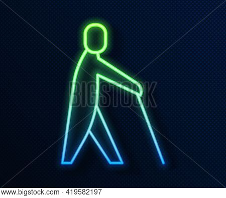 Glowing Neon Line Blind Human Holding Stick Icon Isolated On Blue Background. Disabled Human With Bl