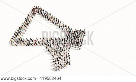 Concept conceptual large community of people forming the megaphone icon. 3d illustration metaphor for communication, audio announcement, broadcast, warning and marketing