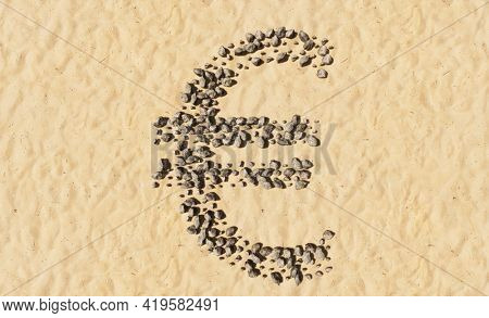 Concept conceptual stones on beach sand handmade symbol shape, golden sandy background, sign of euro sign. 3d illustration metaphor for education, nature, sunny and tropical, summer, sunny, seaside