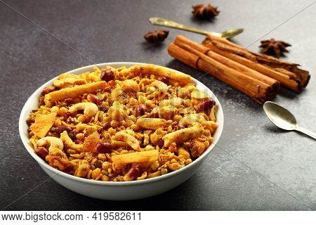 Bowl Of Spicy Indian Mixture ,namkeen, Traditional Recipes Background.
