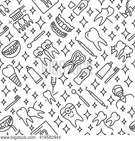 Dentistry Seamless Pattern With Flat Line Icons. Background For Dental Clinics Disign.