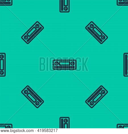 Blue Line Car Audio Icon Isolated Seamless Pattern On Green Background. Fm Radio Car Audio Icon. Vec