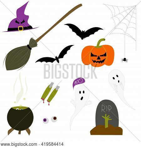 A Set Of Elements For A Scary Halloween. Witch Fingers With Broom And Hat. A Hand From The Grave