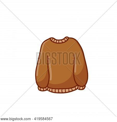 Sweater. Warm Woolen Pullover. Winter Clothing. Brown Outline Cartoon Illustration